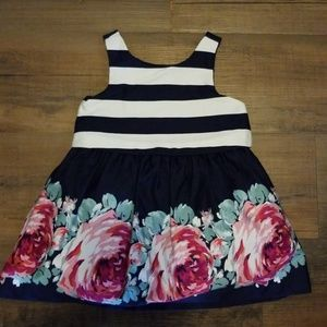 Janie and Jack Baby Girls Floral Navy Blue Dress